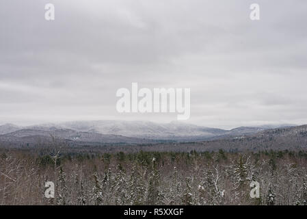 A winter landscape or snowscape of the Adirondack Mountains near Indian Lake, NY USA in the Adirondack Park. - Stock Image