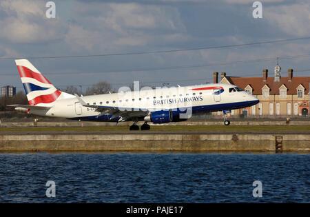 British Airways BA CityFlyer Embraer 170 taking-off - Stock Image