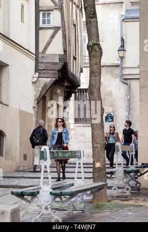 One of the oldest streets in Paris, Rue Grenier sur l'Eau, in the Marais, Paris, France - Stock Image