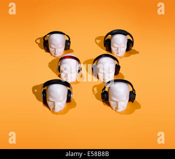 A graphic and creative way of showing a range of headphones - Stock Image