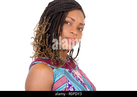 Closeup of beautiful African face isolated on white background - Stock Image