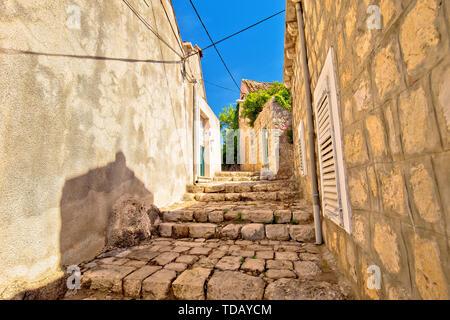 Old stone narrow street of Cavtat, town in south Dalmatia, Croatia - Stock Image
