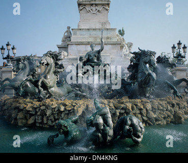Detail of Girondins monument fountain, Bordeaux, France - Stock Image