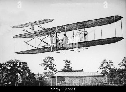 The Wright Flyer III aeroplane. The Wright Flyer III was the third powered aircraft by the Wright Brothers, built during the winter of 1904-05. Orville Wright made the first flight with it on June 23, 1905. - Stock Image