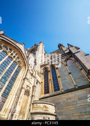 South facade of Truro Cathedral, the Cathedral of the Blessed Virgin Mary, Cornwall, UK, was built between 1880 and 1910. - Stock Image
