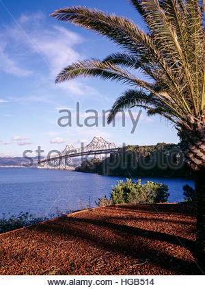Old cantilever section of San Francisco Bay Bridge as seen from Naval Station Treasure Island. - Stock Image