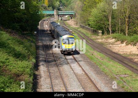 TransPennine Express train near Golcar, West Yorkshire - Stock Image