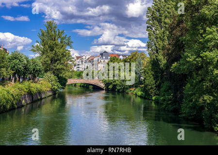 Strasbourg, Alsace, France, Ill river, Kennedy bridge, - Stock Image