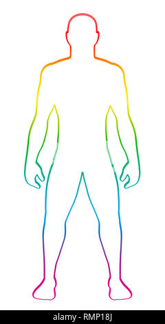 Male muscular body shape. Rainbow gradient colored human silhouette. Outline illustration on white background. - Stock Image