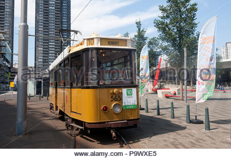 Rotterdam The Netherlands Vintage tram trips through the city. - Stock Image