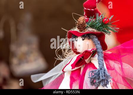 Sibiu, Romania. Winter handmade decorations at the Christmas Market, Transylvania landmark. - Stock Image