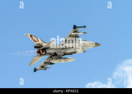 """Israeli Air Force (IAF) General Dynamics F-16C in flight.  Photographed at the  """"Blue-Flag"""" 2017, an international - Stock Image"""