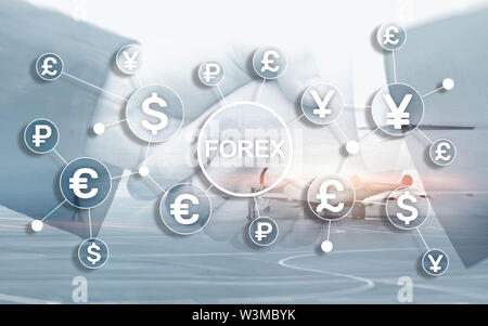 Forex trading currency exchange business finance diagrams dollar euro icons on blurred background. - Stock Image