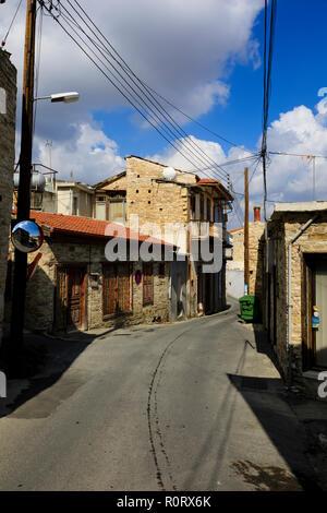 Village street, Pano Lefkara, Cyprus October 2018 - Stock Image