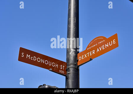 Street sign indicating the route of the Selma to Montgomery Historic Trail at S McDonough St, a civil rights landmark, in Montgomery Alabama, USA. - Stock Image