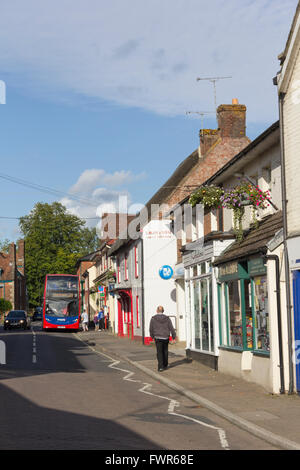 Salisbury Road in the small town of Fordingbridge, Hampshire, looking south-west. - Stock Image