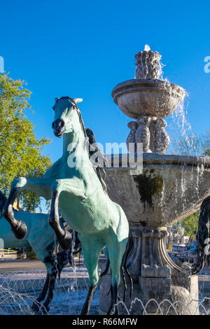 Bronze horse fountain in Old Town Scottsdale, Scottsdale, Phoenix, Arizona, USA - Stock Image