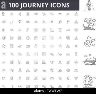 Journey line icons, signs, vector set, outline illustration concept  - Stock Image