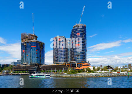 High rise apartments under construction, Elizabeth Quay, Perth, Western Australia - Stock Image