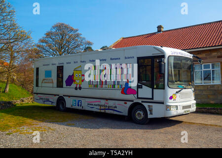 A Super Mobile Library from North Yorkshire County Council  provding Library Services in rural villages - Stock Image