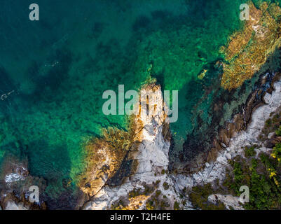 Turquoise waters of Thasos Island in the Aegean Sea, Greece - Stock Image