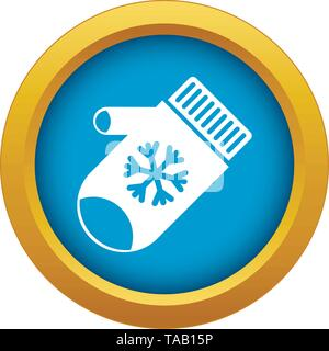 Mitten with snowflake icon blue vector isolated - Stock Image