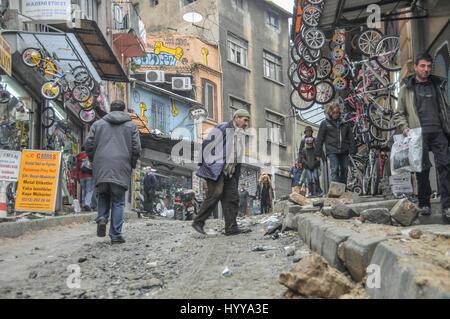 Galip Dede-Yüksek Kald?r?m street in the Beyo?lu district of central Istanbul, undergoing resurfacing work - Stock Image