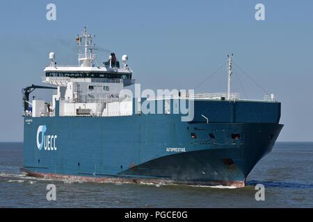 Carcarrier Autoprestige inbound port of Cuxhaven - Stock Image