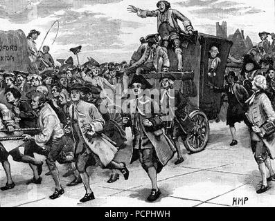 The Mob Releasing John Wilkes on his way to Prison; American War of Independence 1768; Illustration from Cassell's History of England, King's Edition  - Stock Image