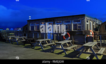Fish Shack Amble in the   Amble is a small town on the north east coast of Northumberland in North East England This is a fish restaurant. Cw 6608 - Stock Image