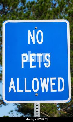 Warning sign, no pets allowed - Stock Image