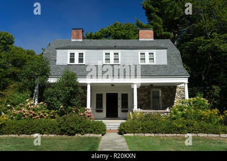 House with two chimneys, Bar Harbor, Maine, USA. - Stock Image