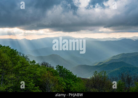 Sun Rays Fall From Clouds Over Smokies - Stock Image