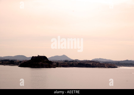 Kerkyra Town with Old Fortress, Kerkyra, Corfu, Greece, Europe, - Stock Image