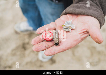 The findings of a man metal detecting on Falmouth's Gyllyngase Beach 15-10-2016 - Stock Image