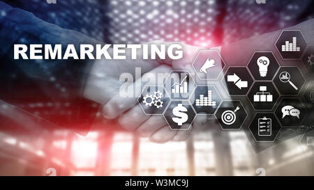 Remarketing Business Technology. Internet and network concept. Mixed media. Financial concept on blurred background. - Stock Image