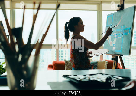 People Girl Woman Painting In Lab For Arts Hobby Work - Stock Image