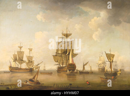 Charles Brooking (attributed )   Men of War in Harbour   Google Art Project - Stock Image