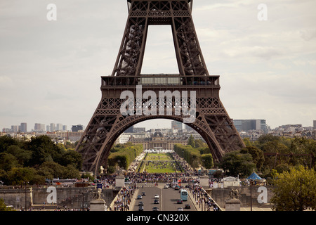 Eiffel Tower as seen from Palais de Chaillot, Trocadero, Paris, France - Stock Image