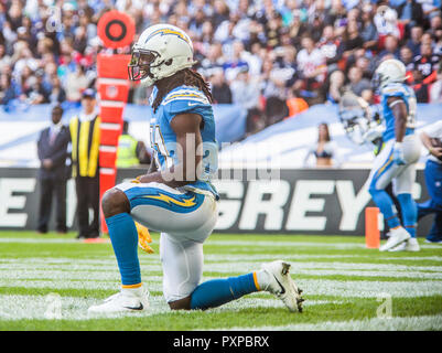 21st October 2018 LONDON, ENG - NFL: OCT 21 International Series - Titans at Chargers  Los Angeles Chargers Safety Jahleel Addae (37)- Credit Glamourstock - Stock Image
