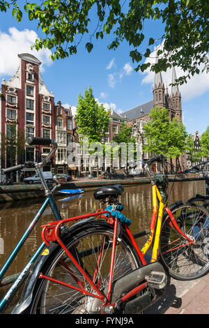 Bicycles at Single Gracht,  Amsterdam, Netherlands - Stock Image