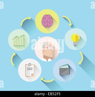 Businessmans thought process concept on blue - Stock Image