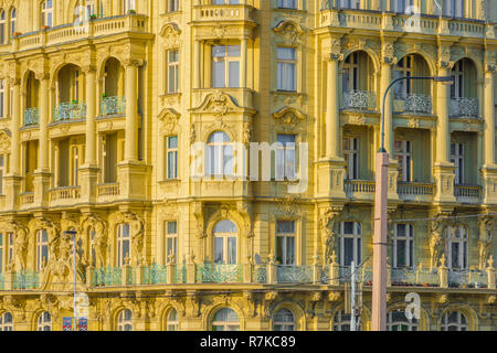 Prague hotel, view of the colorful facade of a typical Art Nouveau hotel building in the Nove Mesto district of Prague, Czech Republic. - Stock Image