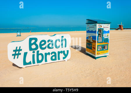 DUBAI, UAE - FEBRUARY 27, 2019: Beach library at the Kite Beach in Dubai city in UAE - Stock Image