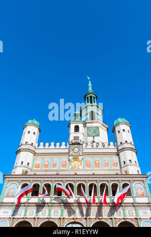 Poznan Town Hall, upper exterior view of the Renaissance Town Hall building (Ratusz) in Market Square in the Old Town area of Poznan, Poland. - Stock Image