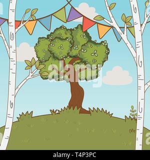 festive party outdoor scene cartoon vector illustration graphic design vector illustration graphic design - Stock Image
