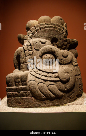 Stone Statue of Xiucoatl the Aztec Fire Serpent, Pre-Columbian Art, National Museum of Anthropology Chapultepec - Stock Image