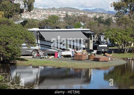 Camping RV at North Beach Campground at Pismo Beach California USA - Stock Image