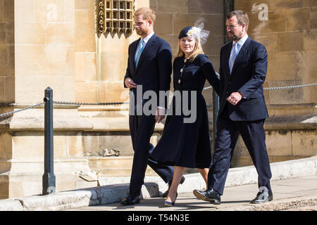 Windsor, UK. 21st April 2019. The Duke of Sussex and Peter and Autumn Phillips arrive to attend the Easter Sunday Mattins service at St George's Chapel in Windsor Castle. Credit: Mark Kerrison/Alamy Live News - Stock Image