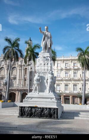 Statue of Jose Marti in  Central Park, Agramonte, Havana, Cuba. - Stock Image